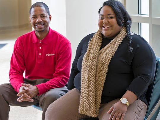 Shay Roberson, right, poses with her guardian ad litem Brian Robinson at the Indiana University campus in Bloomington.