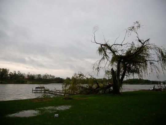 Damage at a dock on Lake Panorama Monday, May 12, 2014.