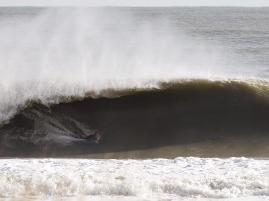 Local bodyboarder Brian Stoehr rides a wave. Stoehr will join Dave and Jeff Hubbard at Lucky Surf Shop on June 26.