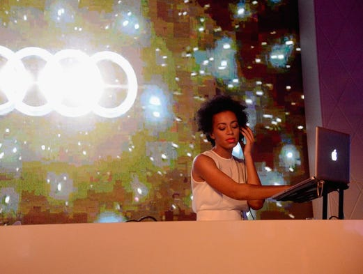 Solange Knowles performs Feb. 2, 2013 -- the day before the Big Game -- at the Audi Forum New Orleans at the city's Ogden Museum of Southern Art.