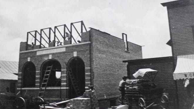 Mishicot's State Bank under construction in 1910.