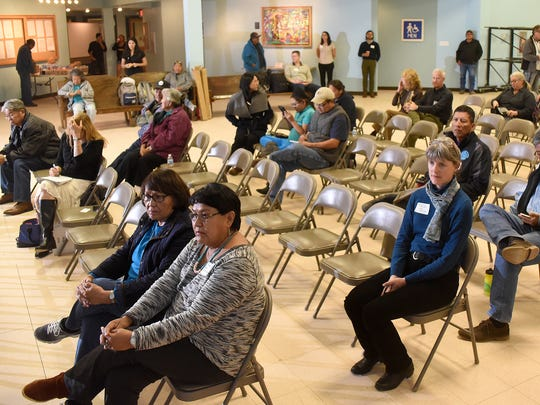 A crowd listens to a presentation about the Bonita Peak Mining District on Thursday at the Shiprock Chapter house.