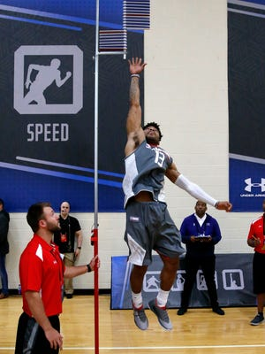 Kansas' Frank Mason III participates in the standing vertical jump at the NBA basketball draft combine.