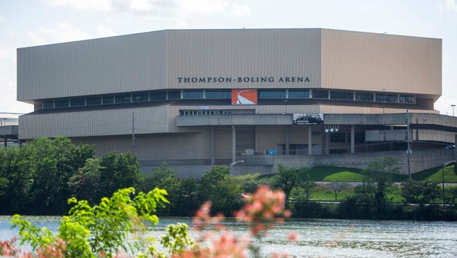 Thompson-Boling Arena as seen from across Fort Loudoun Lake Friday, July 7, 2017.
