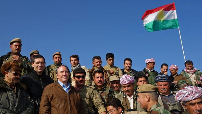 Peter Galbraith, a former U.S. diplomat who lives in Townshend, said this photo was taken December 2014 with Kurdish fighters on the front line against the Islamic State group.