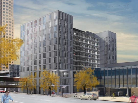 Nelson Construction & Development had planned to build this 12-story apartment complex called Miesblock in downtown Des Moines. The firm has since scaled back the plans.