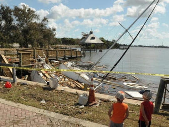 Boats smashed into the shore just south of St. Mark's
