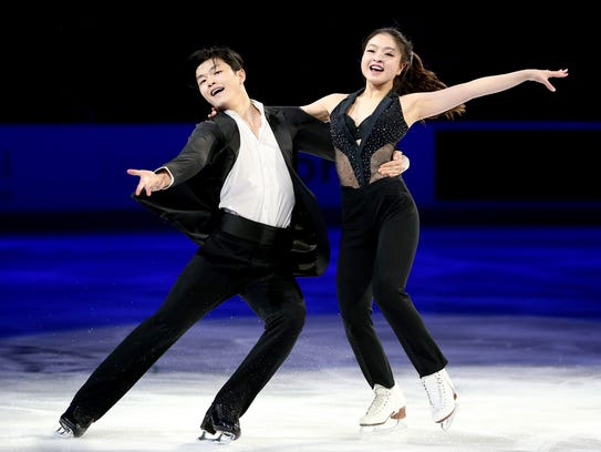 Maia Shibutani and Alex Shibutani skate in the Smucker's Skating Spectacular during the 2018 Prudential U.S. Figure Skating Championships at the SAP Center on Jan. 7, 2018 in San Jose, Calif.