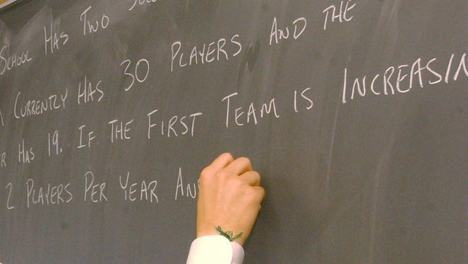 A math question is posted on a chalkboard for students preparing for the ISTEP test. / Gary Moore / The Star 2004 file photo