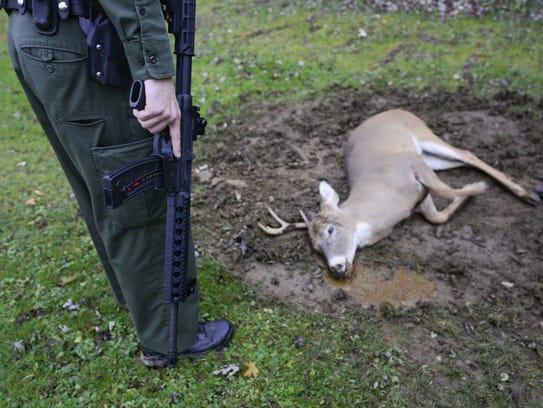 Wildlife Conservation Officer Steve Knickel makes sure