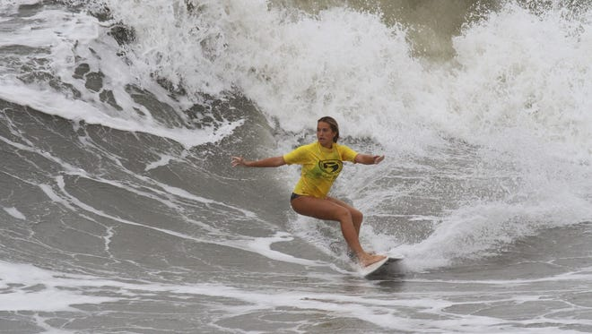 Indialantic surfer Storm Portman defended her girls division title at the Eastern Surfing Association championships last week in Nags Head, North Carolina.