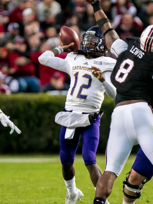 WCU quarterback Tyrie Adams (12) was selected to the preseason All-Southern Conference second team.