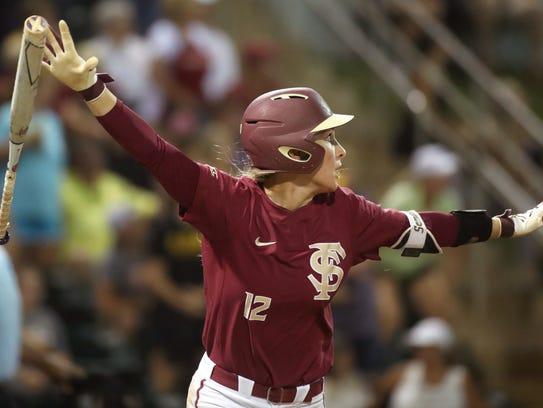 FSU's Carsyn Gordon celebrates her home run in the