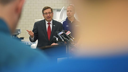 Sioux Falls Mayor Mike Huether speaks during a press