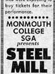 Ad for Steel Mill show at Monmouth in April 1970.