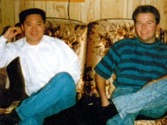 Kim (left) and Hank Ward relax at Ward's grandmother's