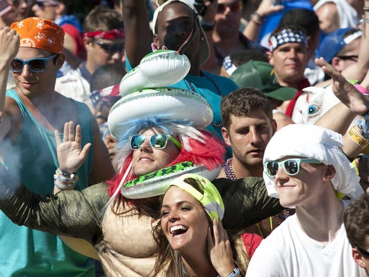 Fans enjoy Sunday's Indy 500 Snake Pit concert featuring Hardwell, Nervo and Dillon Francis.