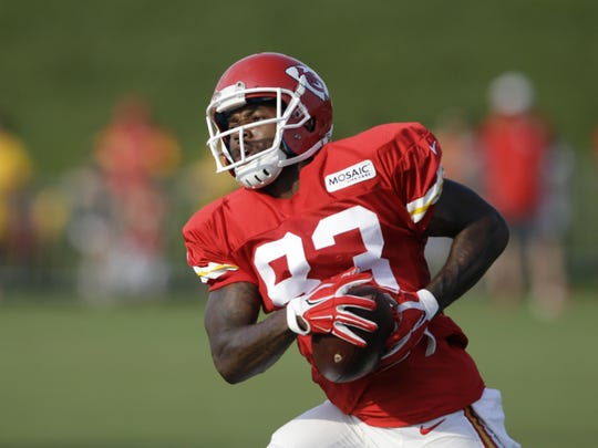 Kansas City Chiefs wide receiver Fred Williams catches a pass during a training camp practice on Aug. 3 in St. Joseph, Missouri.