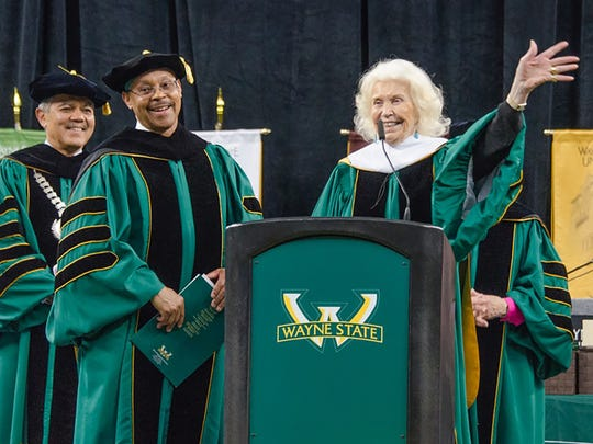 Gretchen Valade received an honorary degree from Wayne State University in 2016.