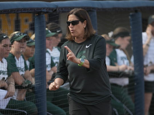 Michigan State head coach Jaquie Joseph talks to players during the third against Ohio State in the Big Ten softball tournament at Alumni Field in Ann Arbor on Saturday, May 13, 2017.
