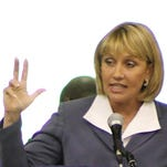 Lt. Gov. Kim Guadagno speaks at the American Legion Jersey Boys State Commencement at Rider University in Lawrence Township on June 27, 2014. (NJ Office of Information Technology)