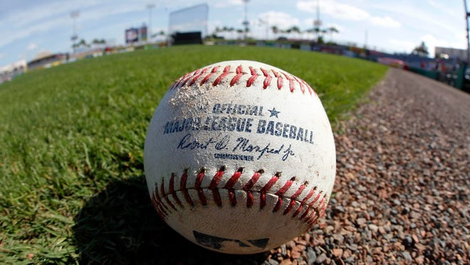 General view of the official Major League Baseball prior to a spring training game.