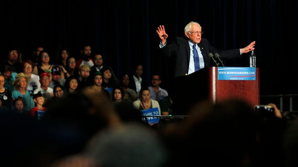 Bernie Sanders speaks at a campaign rally at the Phoenix Convention Center on March 15, 2016.