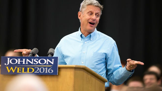 In this Sept. 3, 2016 file photo, Libertarian presidential candidate Gary Johnson speaks during a campaign rally in Des Moines.