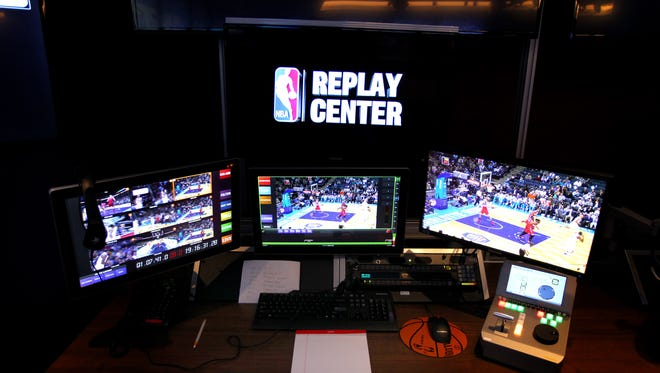 A general view of a replay station at the NBA replay center in Secaucus, N.J.