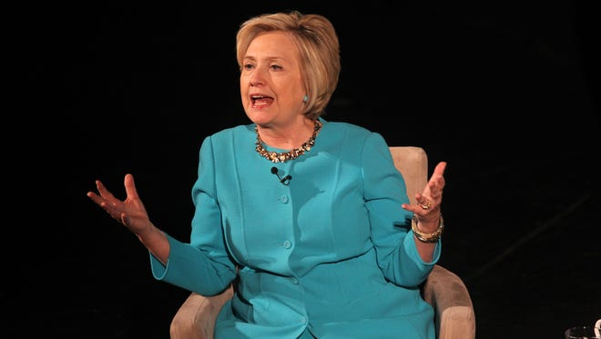 Hillary Clinton appears at  the Riverside Theater on Thursday, Nov. 9, 2017 in Milwaukee to talk about her political career.