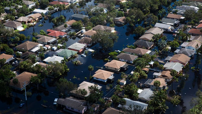 Aerial view of the flooded Quinn Street area in Bonita Springs on Saturday, Sept. 16, 2017, six days after Hurricane Irma.