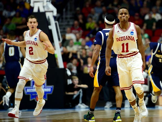Indiana Hoosiers guard Yogi Ferrell (11) reacts after