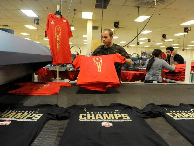 Johnstown company prints osu title shirts for Local t shirt printing companies
