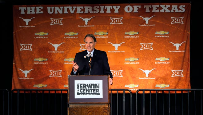 Texas athletic director Steve Patterson makes comments before introducing Shaka Smart as the new head coach of the Texas Longhorns men's basketball team at the Frank Erwin Center on April 3, 2015 in Austin, Texas.