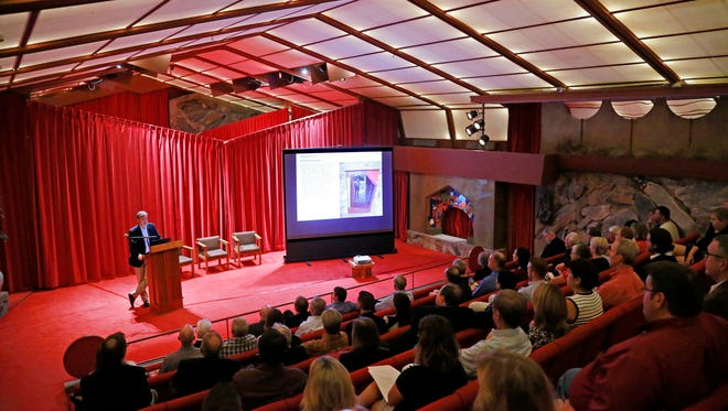 Gunny Harboe president of Harboe Architects delivers his findings to the The Frank Lloyd Wright Foundation Wednesday, Oct. 21, 2015 in Scottsdale, Ariz.  The foundation spent $150,000 hiring the Chicago-based firm of Harboe Architects to decide what needs to be fixed at Taliesin West and when.