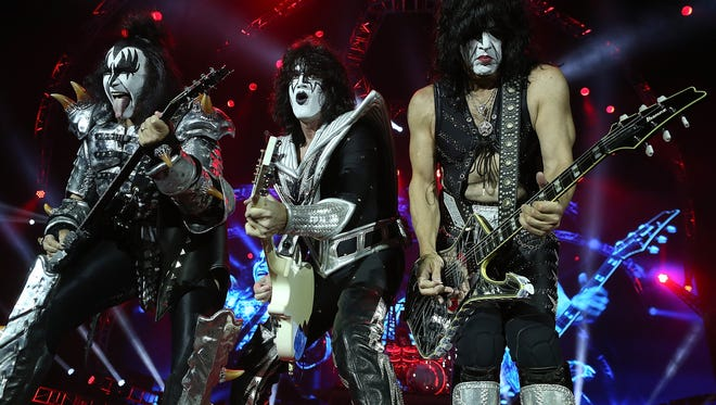 Gene Simmons, from left, Tommy Thayer and Paul Stanley of KISS will make a stop Aug. 10 at the Resch Center for their Freedom to Rock Tour.