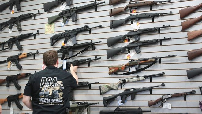 LAKE BARRINGTON, IL - JUNE 17:  Guns built by DSA Inc and other manufacturers are displayed inside the DSA Inc. store on June 17, 2016 in Lake Barrington, Illinois.  Earlier in the day the facility was the target of an anti gun protest. DSA Inc. manufactures FAL, AR-15 and RPD rifles.  (Photo by Scott Olson/Getty Images) ORG XMIT: 647883613 ORIG FILE ID: 540937888