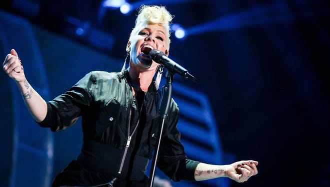 Pink performs onstage during the 2017 iHeartRadio Music Festival in Las Vegas.