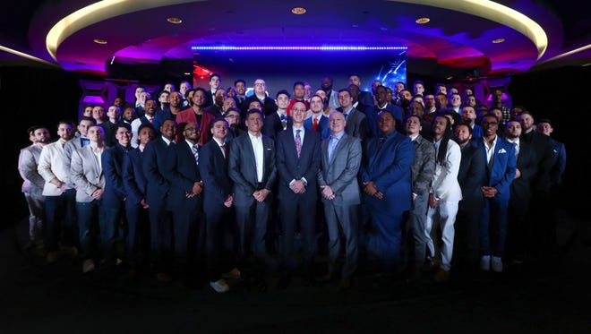 NEW YORK, NY - APRIL 04:  (L-R) NBA Commissioner Adam Silver, NBA 2K League Managing Director Brendan Donohue and Take-Take Interactive CEO Strauss Zelnick poses for a photo with the 2018 NBA 2K League Draft class at Madison Square Garden on April 4, 2018 in New York City.  (Photo by Mike Stobe/Getty Images)