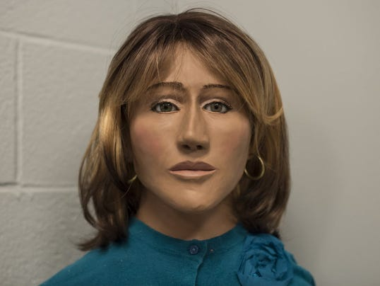 This is a recently created bust of a woman, whose body was found partially decomposed on Oct. 10, 1973, on Fort Indiantown Gap lane. State police at Lickdale is asking the public for help to identify the woman.