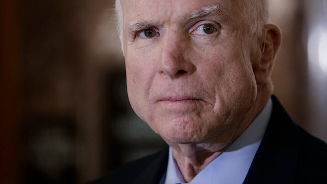 """Sen. John McCain, R-Ariz., chairman of the Senate Armed Services Committee, called Trump a """"novice politician"""" and said the damage inflicted by Trump's """"naiveté, egotism, false equivalence, and sympathy for autocrats is difficult to calculate."""" Oct. 2017 photo."""