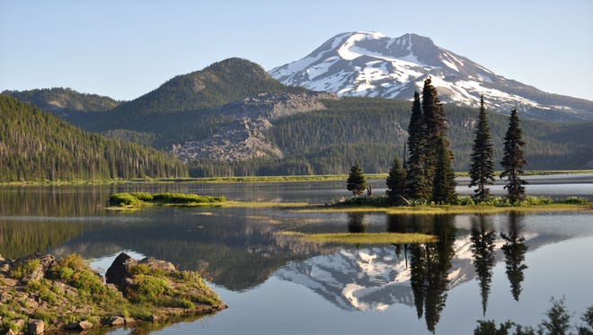 Sparks Lake offers beautiful views of South Sister, seen here, and Broken Top.