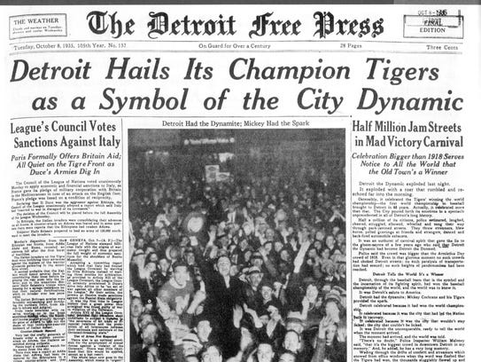 A Detroit Free Press from 1935, when the Tigers won