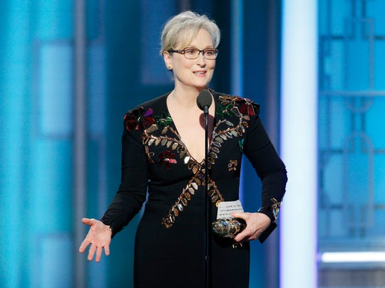Meryl Streep accepts the Cecil B. DeMille Award  for lifetime achievement at the 74th Golden Globe Awards.