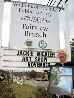 Jackie Mickler will exhibit her works of art in the Fairview Public Library during November.
