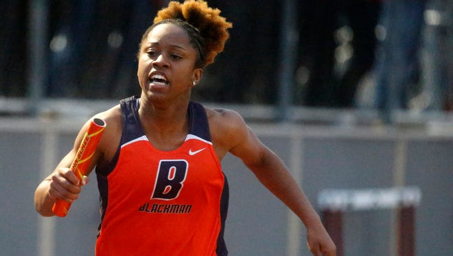 Blackman sophomore Joelle Patton competes in the Rutherford County Championships recently. Patton broke the school record in the 100-meter dash at the sub-sectional meet this week.