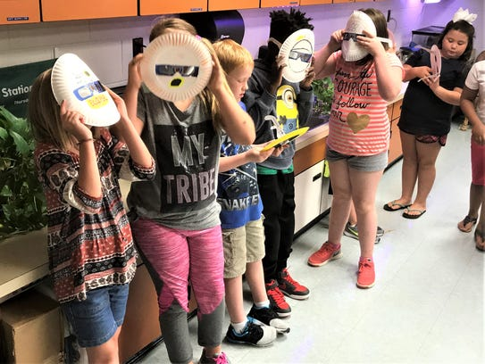 Central Elementary fifth graders line up to go outside