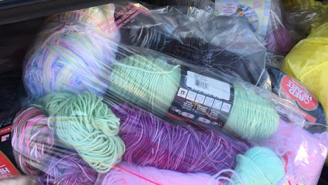 One of the sorted bags of yarn from Celeste Mascola of Manville, donated by her husband, Mike.