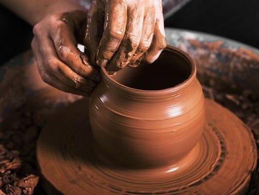 Pottery clay on wheel
