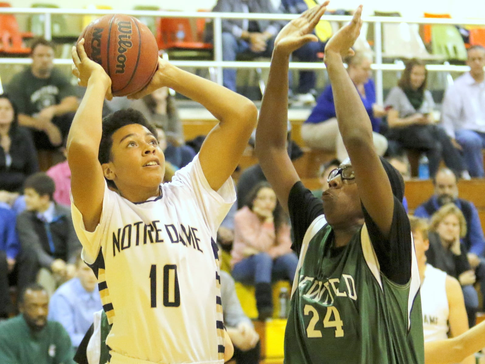Notre Dame's Derrick Stark looks to shoot while guarded by Newfield's Quintel Clements during Friday's IAC game in Southport.